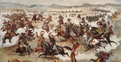 In der Schlacht am Little Bighorn wurde am 25. Juni 1876 die von George Armstrong Custer befehligte 7. Kavallerie aufgerieben. Die Lithographie aus dem Jahre 1876 imaginiert Custers letzte Stellung.